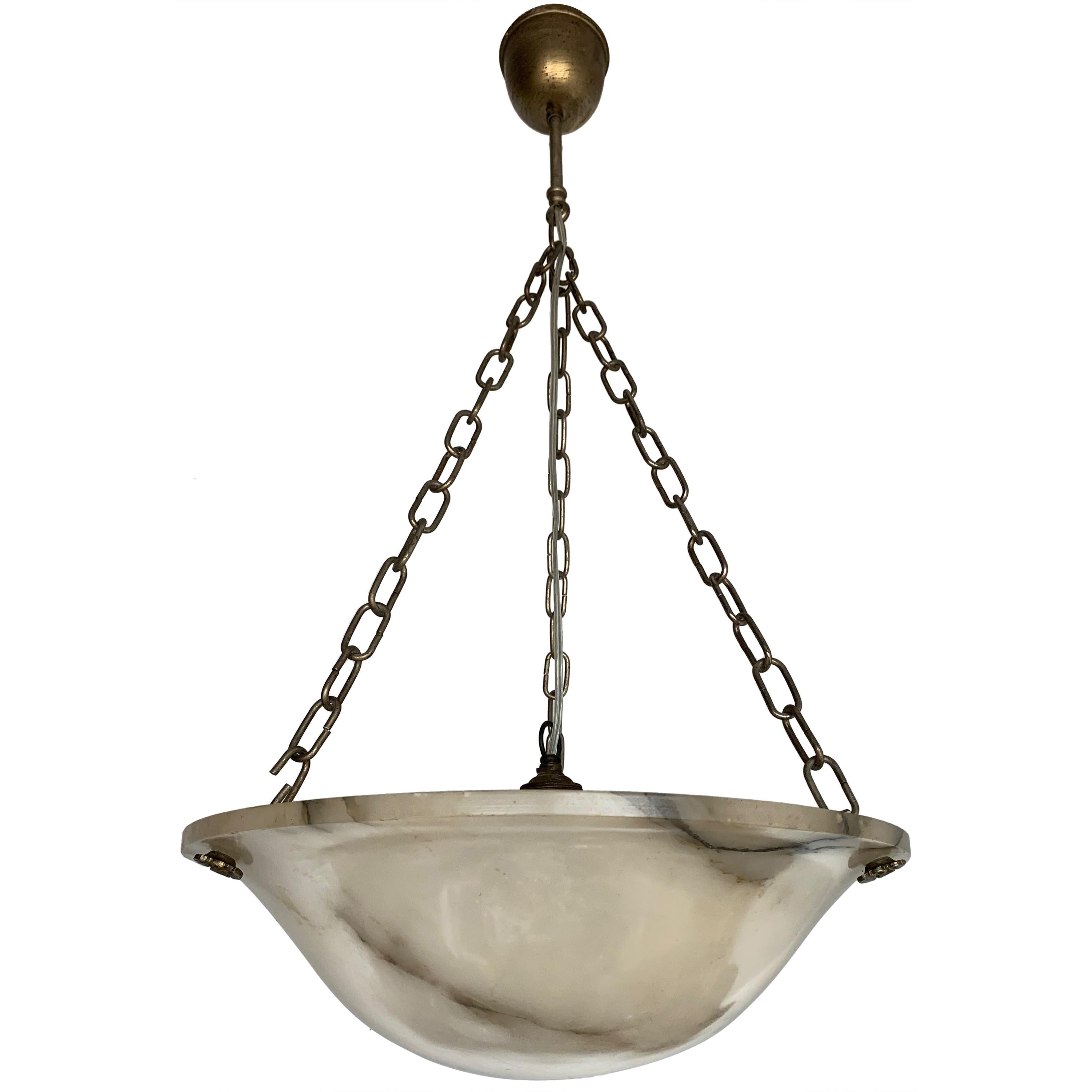 LOOK!! NEW BRONZE 3-CHAIN LIGHT FIXTURE VINTAGE ART DECO SHADE Three Chain