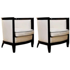 Art Deco White and Black Leather Ebonized Black Wood Bucket Armchairs, 1930s