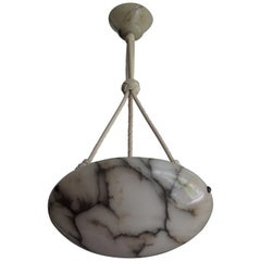 Art Deco White and Black Veins Alabaster Pendant with Perfect Rope & Mint Canopy