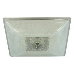 Art Deco  White and Clear Glass Semi Flush Mount