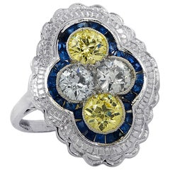 Art Deco Style White and Fancy Yellow Old European Cut Diamond Ring
