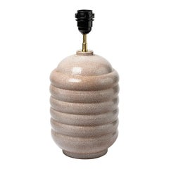 Art Deco White and Light Pink French Ceramic Table Lamp circa 1930 GAM Light