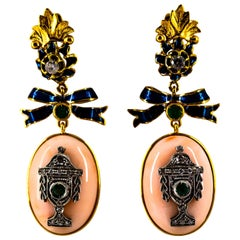 Art Deco Style White Diamond Emerald Pink Coral Enamel Yellow Gold Drop Earrings