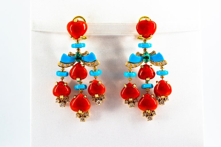 Art Deco Style Diamond Emerald Red Coral Turquoise Yellow Gold Clip-On Earrings For Sale 5