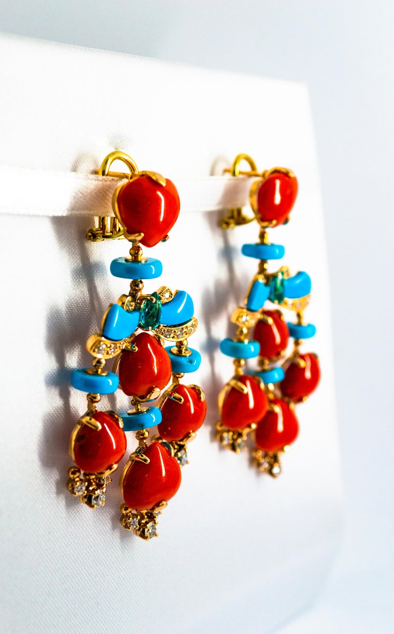 Art Deco Style Diamond Emerald Red Coral Turquoise Yellow Gold Clip-On Earrings For Sale 6