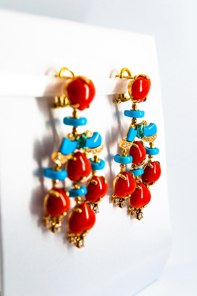 Art Deco Style Diamond Emerald Red Coral Turquoise Yellow Gold Clip-On Earrings For Sale 7