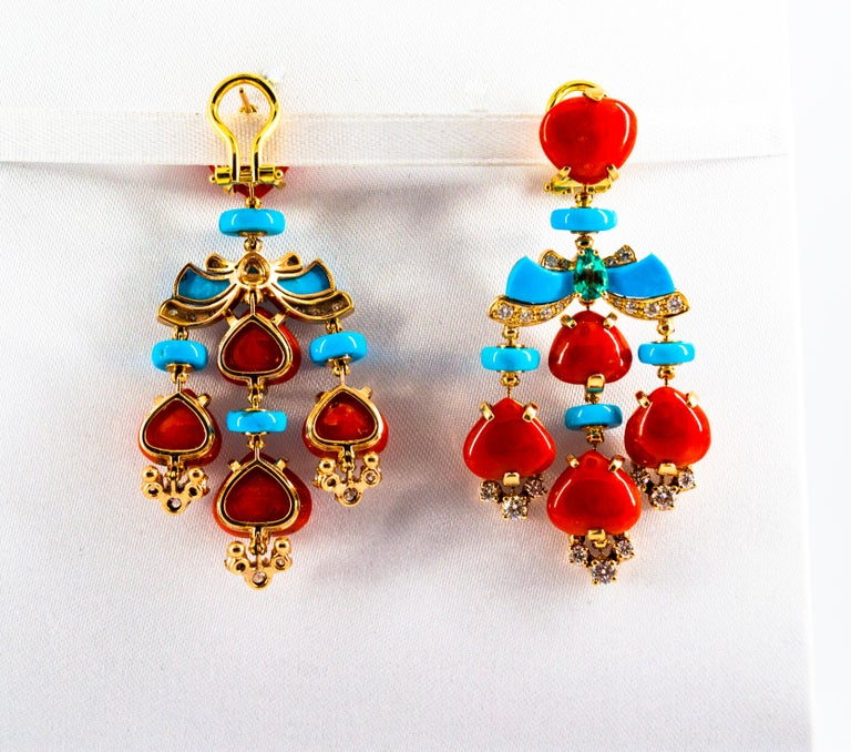 Art Deco Style Diamond Emerald Red Coral Turquoise Yellow Gold Clip-On Earrings For Sale 8