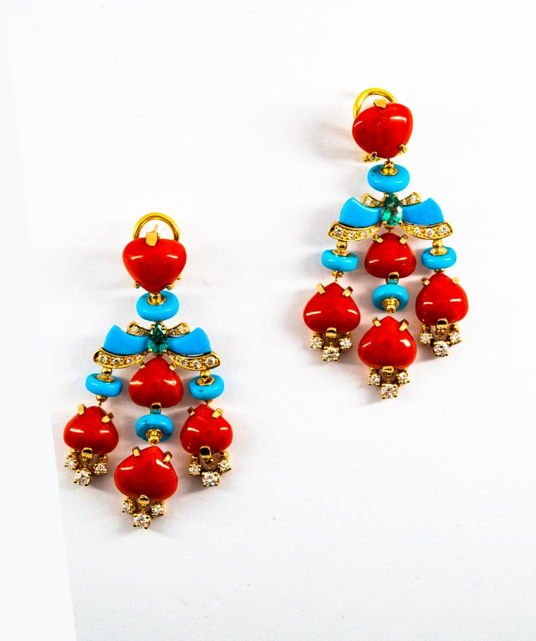 Art Deco Style Diamond Emerald Red Coral Turquoise Yellow Gold Clip-On Earrings For Sale 9