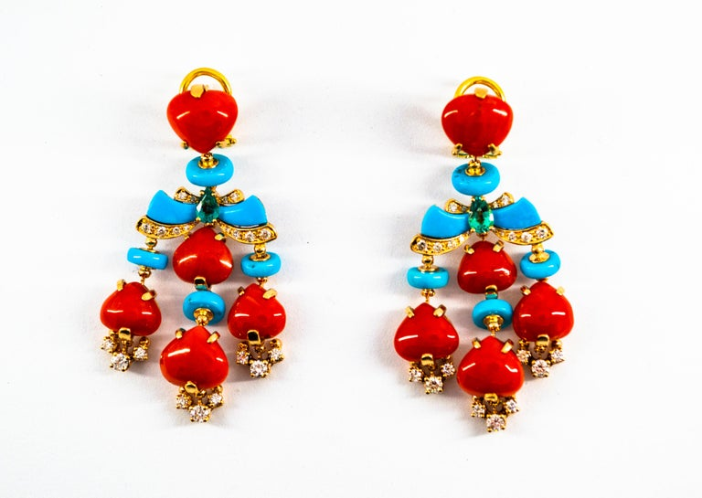 Art Deco Style Diamond Emerald Red Coral Turquoise Yellow Gold Clip-On Earrings For Sale 10