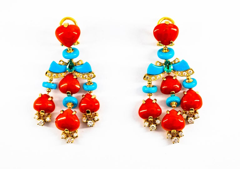 Art Deco Style Diamond Emerald Red Coral Turquoise Yellow Gold Clip-On Earrings For Sale 11