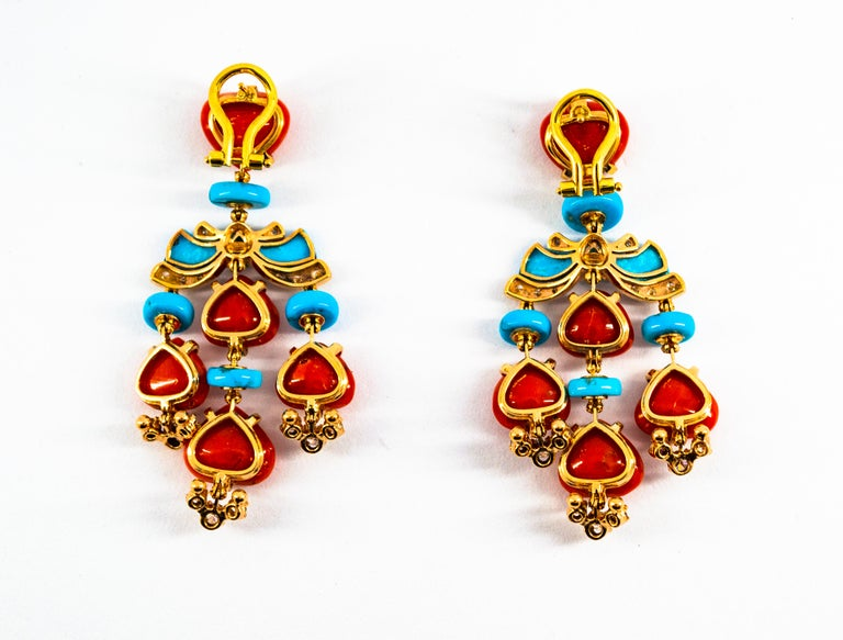 Art Deco Style Diamond Emerald Red Coral Turquoise Yellow Gold Clip-On Earrings For Sale 12