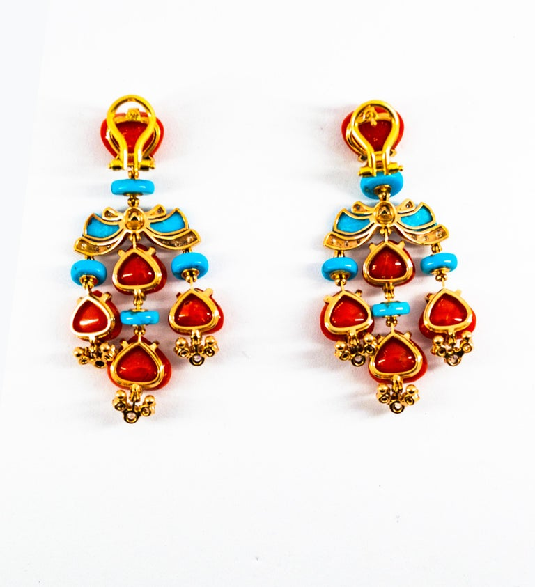Art Deco Style Diamond Emerald Red Coral Turquoise Yellow Gold Clip-On Earrings For Sale 13