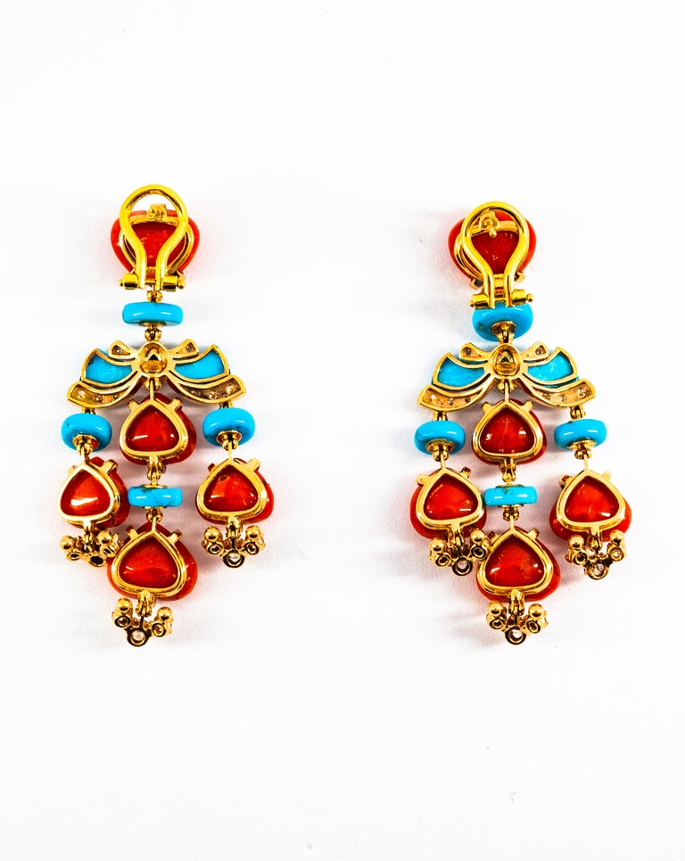 Art Deco Style Diamond Emerald Red Coral Turquoise Yellow Gold Clip-On Earrings For Sale 14