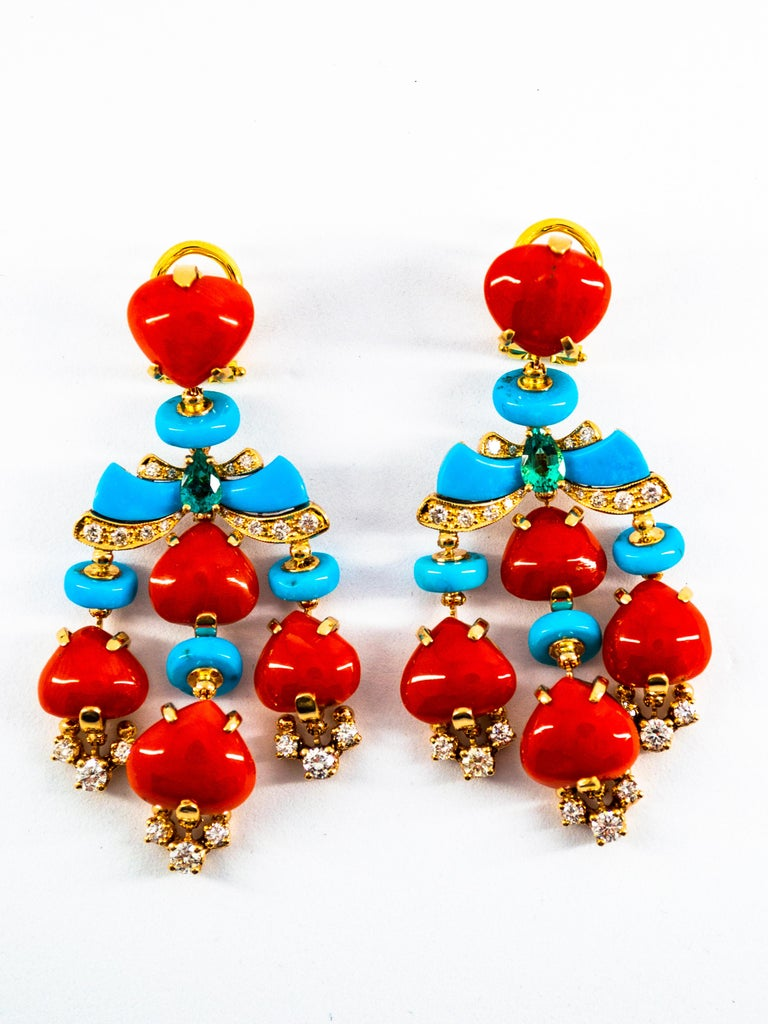 Round Cut Art Deco Style Diamond Emerald Red Coral Turquoise Yellow Gold Clip-On Earrings For Sale