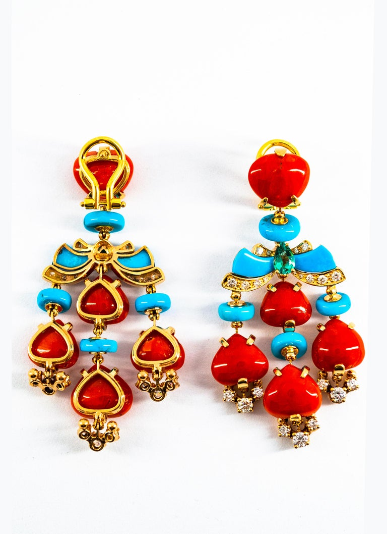 Art Deco Style Diamond Emerald Red Coral Turquoise Yellow Gold Clip-On Earrings In New Condition For Sale In Naples, IT