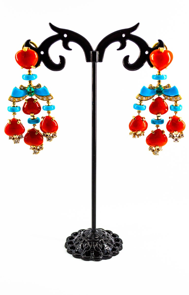 Women's or Men's Art Deco Style Diamond Emerald Red Coral Turquoise Yellow Gold Clip-On Earrings For Sale
