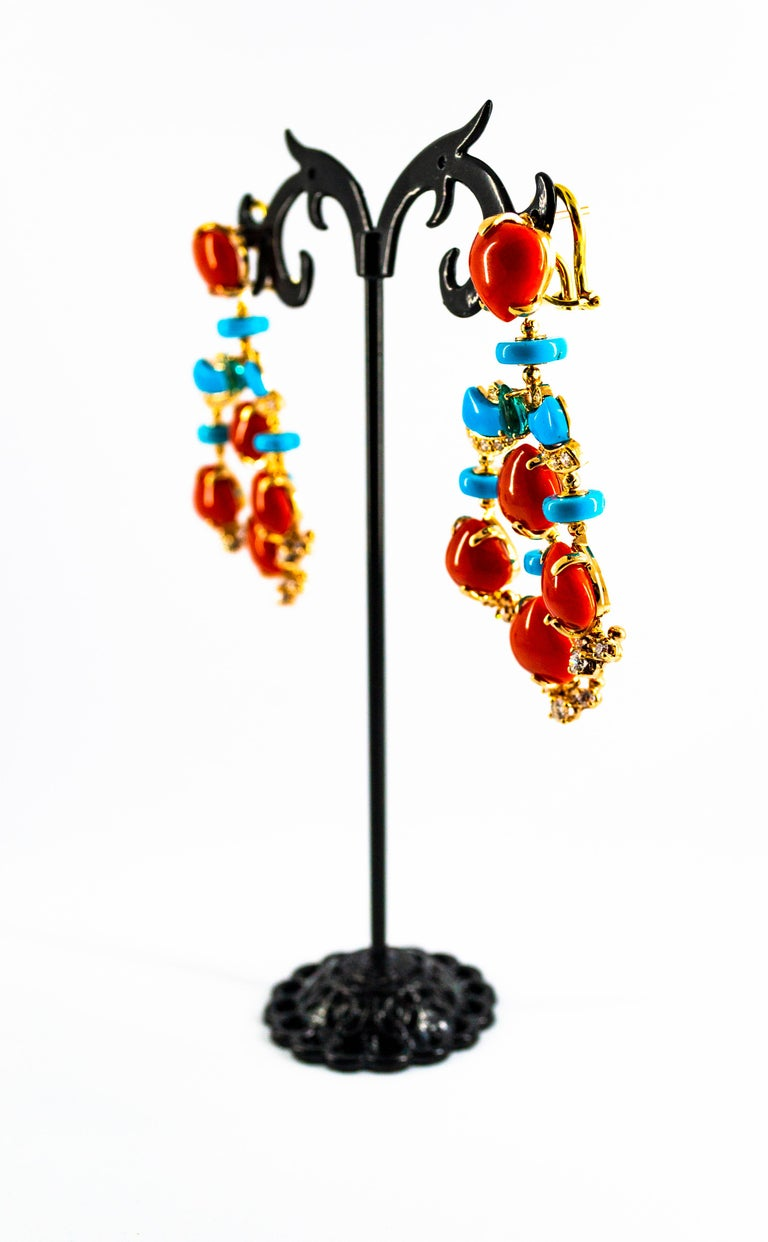 Art Deco Style Diamond Emerald Red Coral Turquoise Yellow Gold Clip-On Earrings For Sale 1