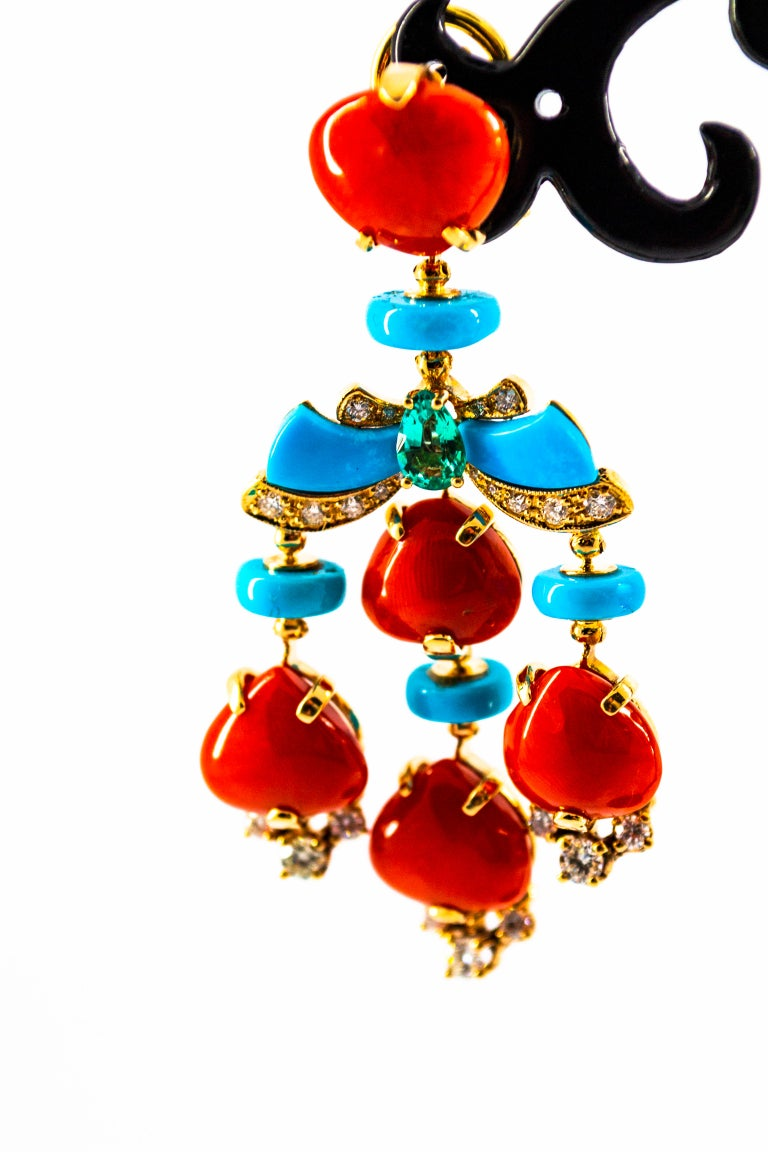 Art Deco Style Diamond Emerald Red Coral Turquoise Yellow Gold Clip-On Earrings For Sale 2