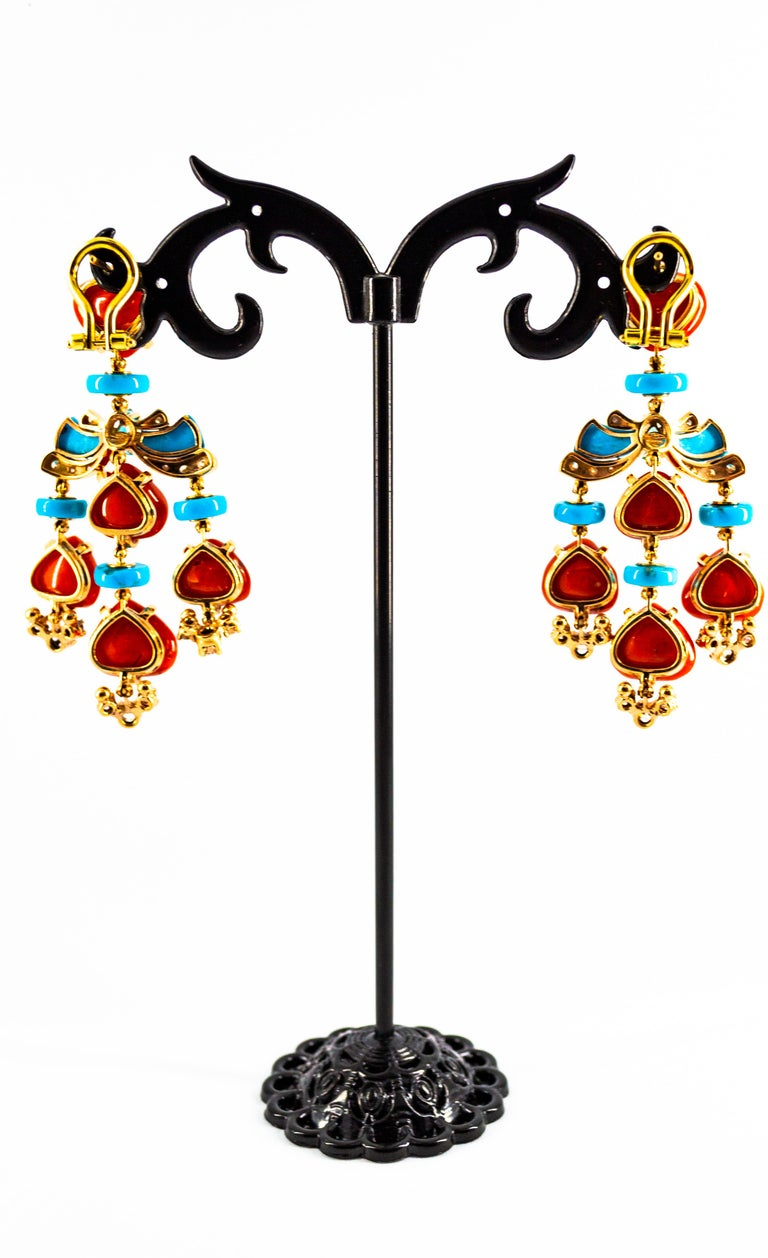 Art Deco Style Diamond Emerald Red Coral Turquoise Yellow Gold Clip-On Earrings For Sale 3