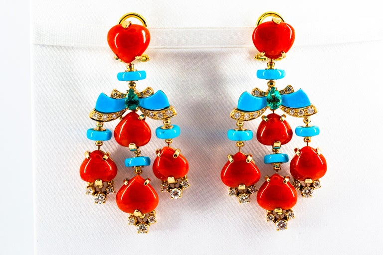 Art Deco Style Diamond Emerald Red Coral Turquoise Yellow Gold Clip-On Earrings For Sale 4