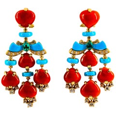 Art Deco White Diamond Emerald Red Coral Turquoise Yellow Gold Clip-On Earrings