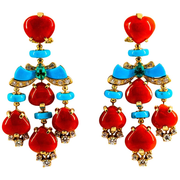 Art Deco Style Diamond Emerald Red Coral Turquoise Yellow Gold Clip-On Earrings For Sale