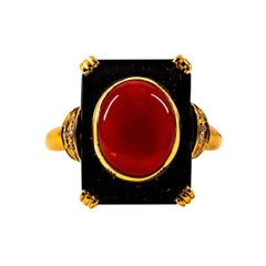 Art Deco White Diamond Mediterranean Red Coral Onyx Yellow Gold Cocktail Ring
