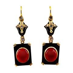 Art Deco White Diamond Mediterranean Red Coral Onyx Yellow Gold Drop Earrings