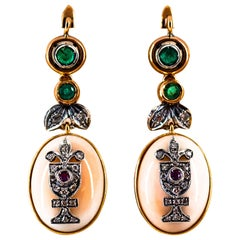 Art Deco Style Diamond Ruby Emerald Pink Coral Yellow Gold Lever-Back Earrings