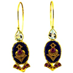 Art Deco Style Diamond Ruby Lapis Lazuli Aquamarine Yellow Gold Drop Earrings