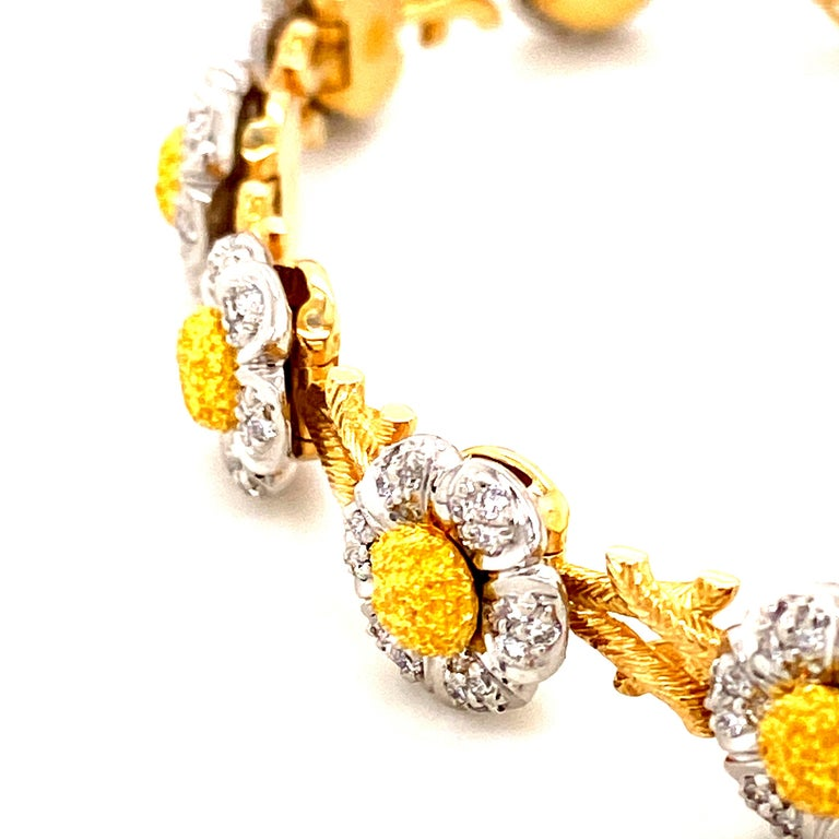 Round Cut Art Deco Style White Diamond, Yellow and White Gold Bracelet For Sale