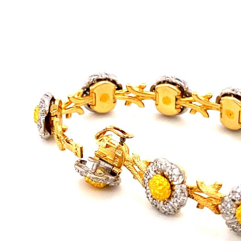 Women's or Men's Art Deco Style White Diamond, Yellow and White Gold Bracelet For Sale