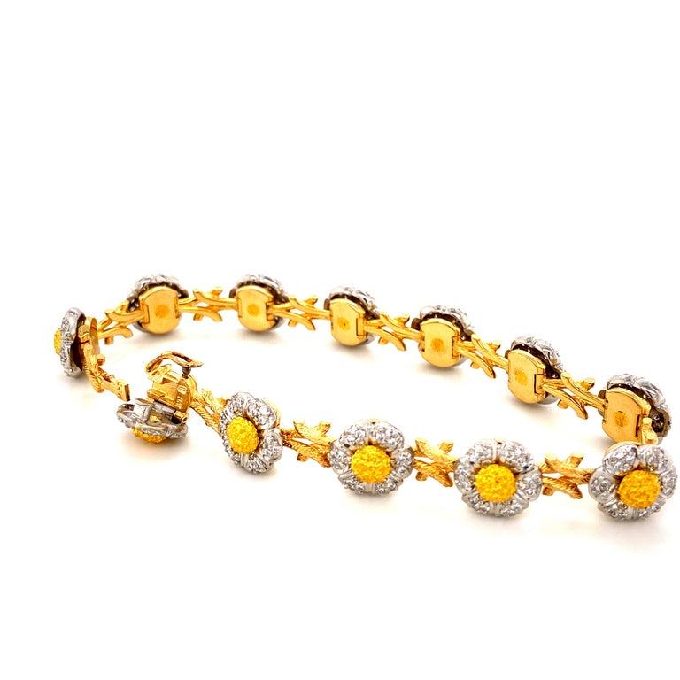 Art Deco Style White Diamond, Yellow and White Gold Bracelet For Sale 1