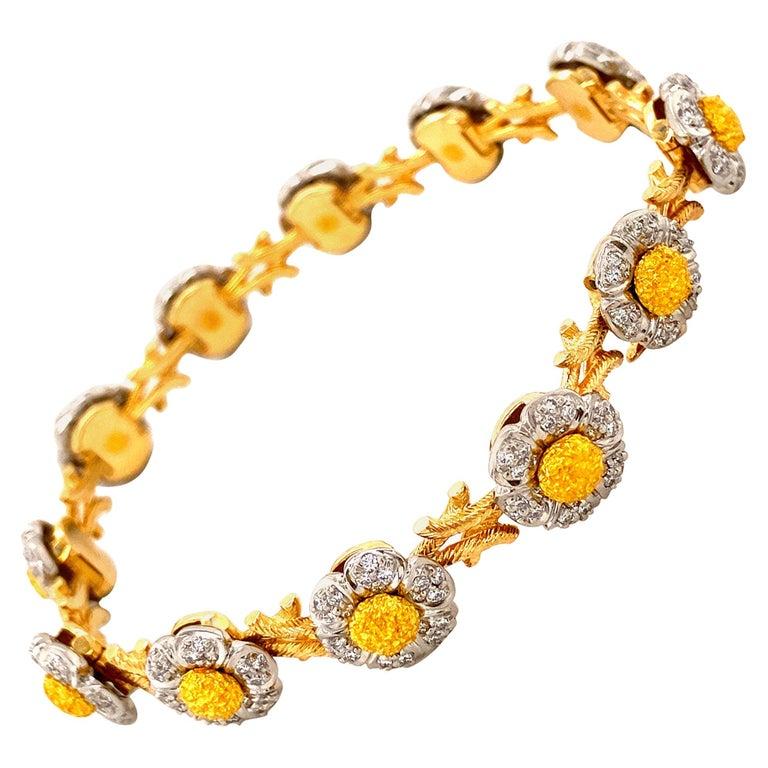 Art Deco Style White Diamond, Yellow and White Gold Bracelet For Sale