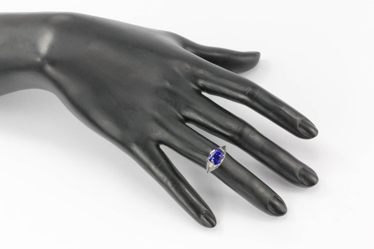 Art Deco White Gold 4.09 Carat Natural Gia Royal Blue Sapphire Ring For Sale 6