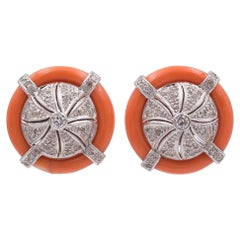 Art Deco Style White Gold, Coral and Round Cut Diamond Earrings