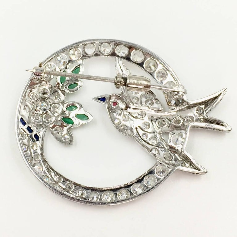 Women's Art Deco White Gold Diamond Bird and Flower Brooch For Sale