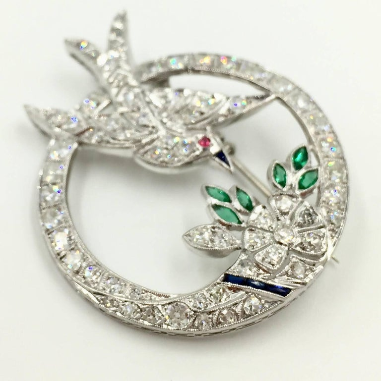 Art Deco White Gold Diamond Bird and Flower Brooch For Sale 1