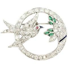 Art Deco Style White Gold Diamond Bird and Flower Brooch
