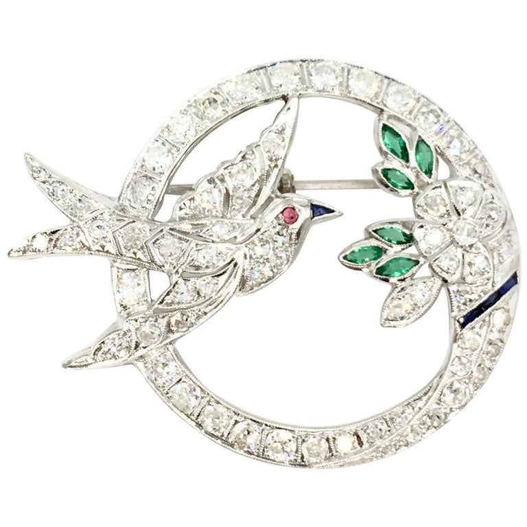 Art Deco White Gold Diamond Bird and Flower Brooch For Sale