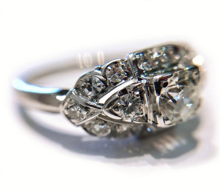 Women's or Men's Art Deco White Gold Diamond Ring, 0.78 Carat For Sale