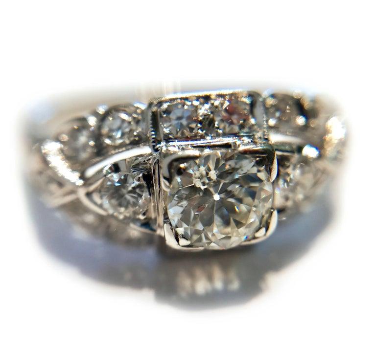 Art Deco White Gold Diamond Ring, 0.78 Carat For Sale 1