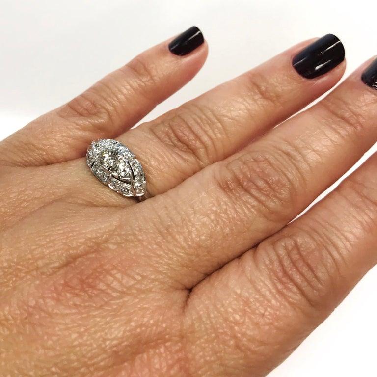 Art Deco White Gold Diamond Ring, 0.78 Carat For Sale 2