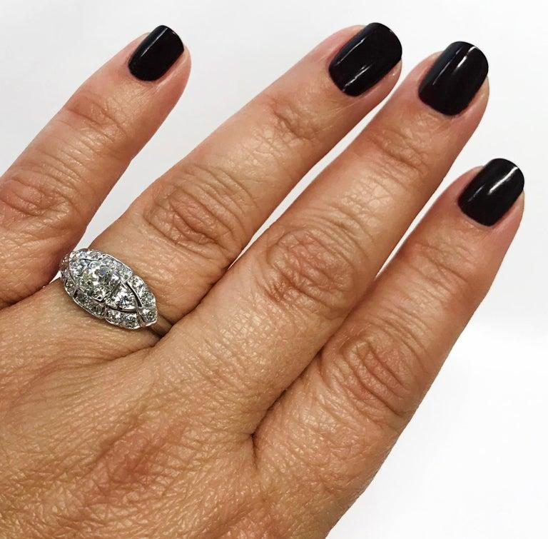 Art Deco White Gold Diamond Ring, 0.78 Carat For Sale 3