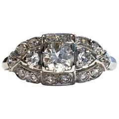 Art Deco White Gold Diamond Ring, 0.78 Carat