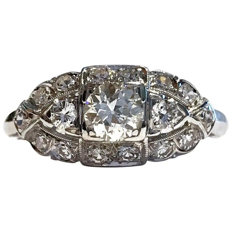 Art Deco White Gold Diamond Ring, 0.78 Carat For Sale