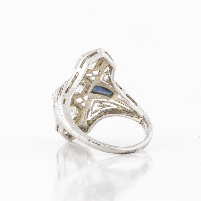 Art Deco White Gold Diamond Ring In Good Condition For Sale In Houston, TX