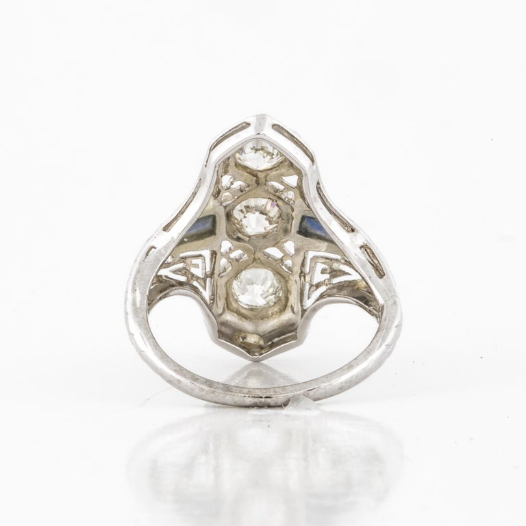 Women's or Men's Art Deco White Gold Diamond Ring For Sale