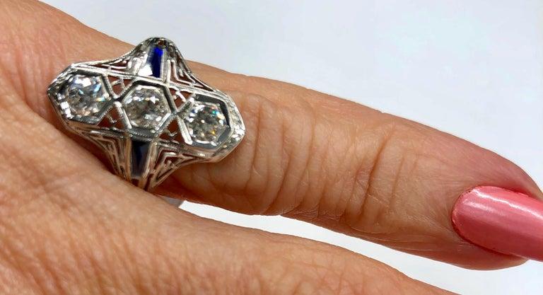 Art Deco White Gold Diamond Ring For Sale 1
