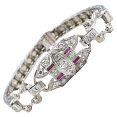Art Deco White Gold Diamond & Ruby Bracelet